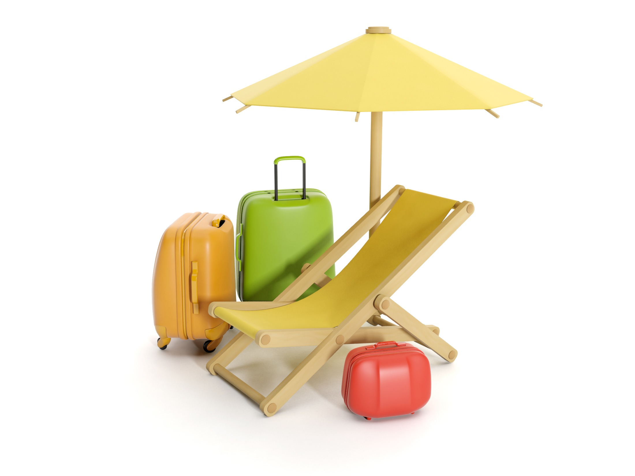 3d illustration: Take vacation, holiday items and suitcases