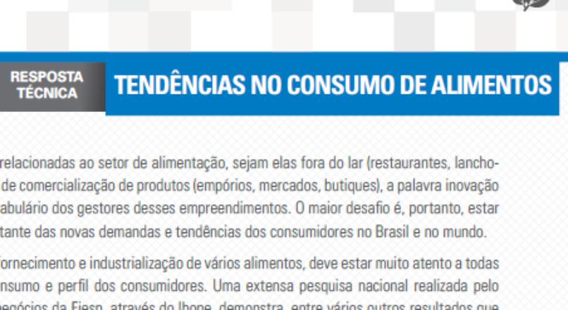 Boletim- Tendência no Consumo de Alimentos
