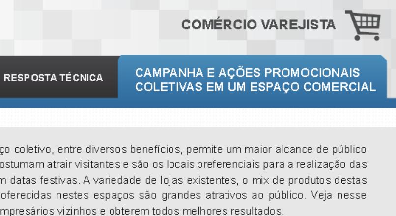 Boletim- Campanha e ações promocionais em um espaço comercial